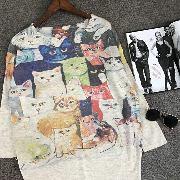 Delightful Cartoon Cat Batwing-Sleeves Sweater