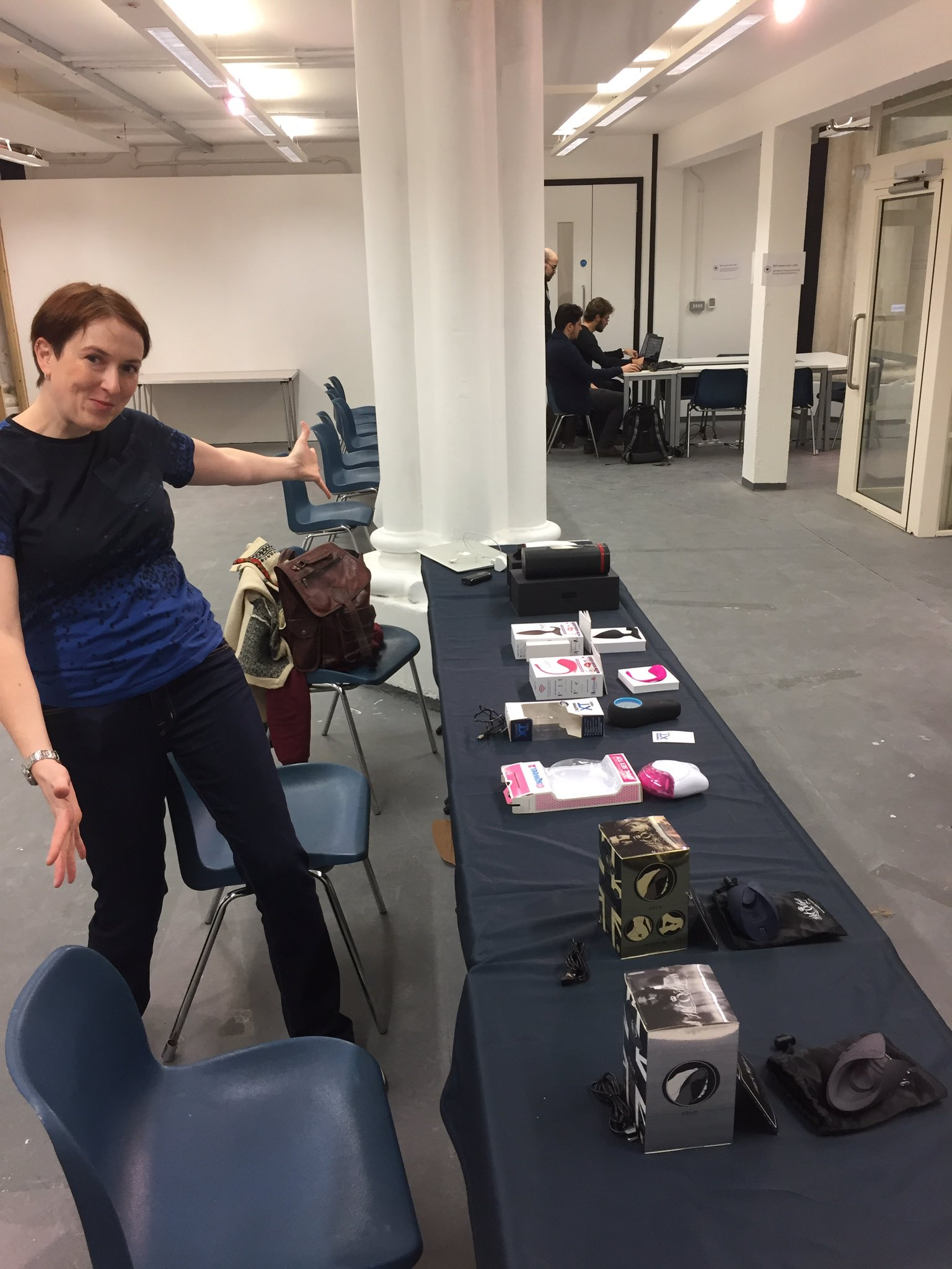 Our resident #sexpert @drkatedevlin with our... hardware #sextechhack https://t.co/bhdkxu0M75