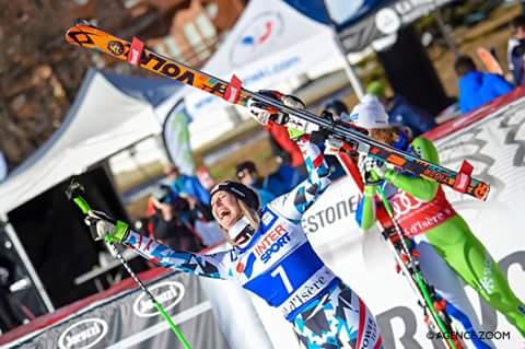 Athlete of women downhill #valdisere #connyhuetter finally back on track 😉💪