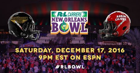 WAKE UP! It's @NewOrleansBowl  Day! @SouthernMissFB vs @RaginCajunsFB tonight on #ESPN in #NOLA y'all!  #SMTTT #GEAUXCajuns #RLBowl https://t.co/L8lXWkgY7r