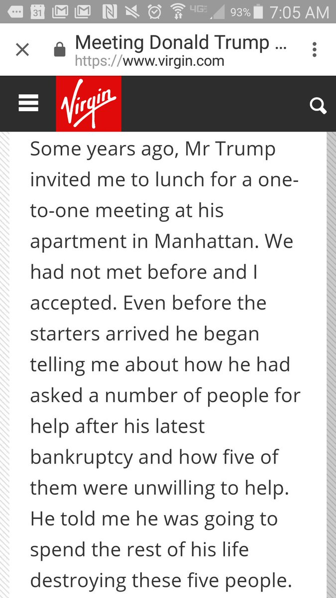 Stumbled on this @RichardBranson  recollection of a disturbing lunch with Trump. https://t.co/n1UEWOXJtK https://t.co/NF8c7Mf1xl