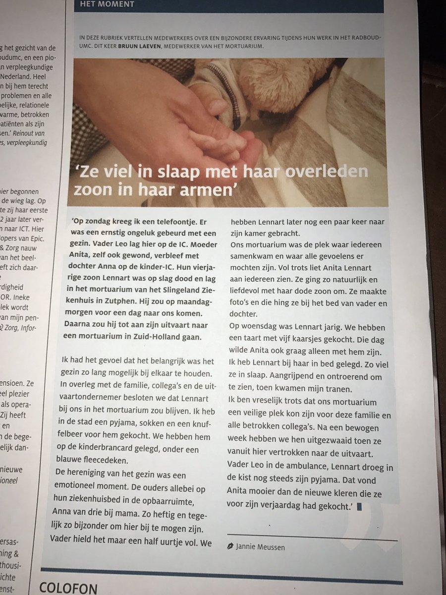 In ons personeelsmagazine @radboudumc delen collega's hún moment. Deze is om heel stil en trots van te worden. https://t.co/3CtMaom01J