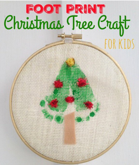 Foot Print Christmas Tree Craft for Kids