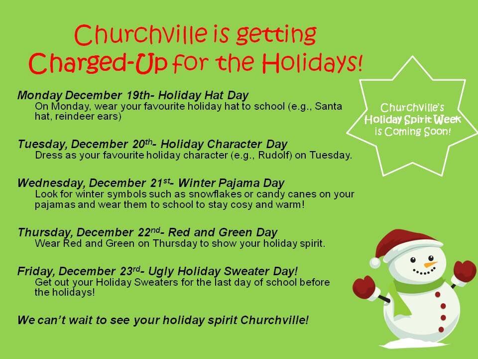 Christmas Spirit Week Ideas School.Churchville Ps On Twitter This Week At Churchville We Are