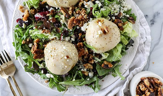 Chardonnay Poached Pear Salad (with video)