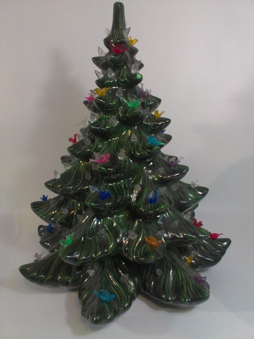 "Atlantic Mold Christmas Tree Ceramic Green Ornament Bulbs Birds 16.5"" Tall Xmas"