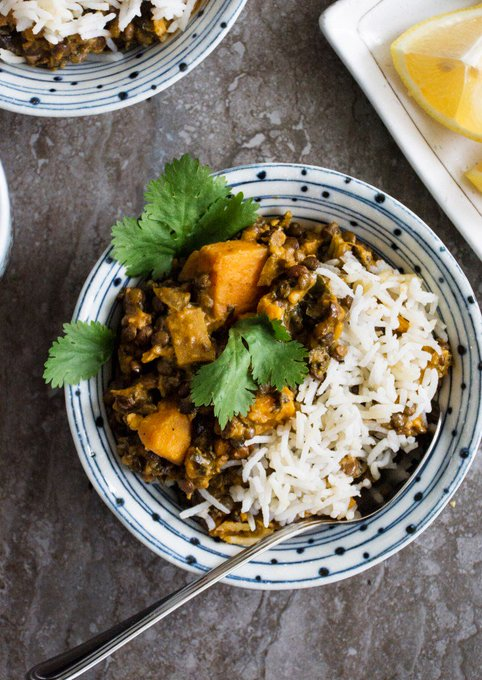 Green Lentil Curry with Kale & Yam