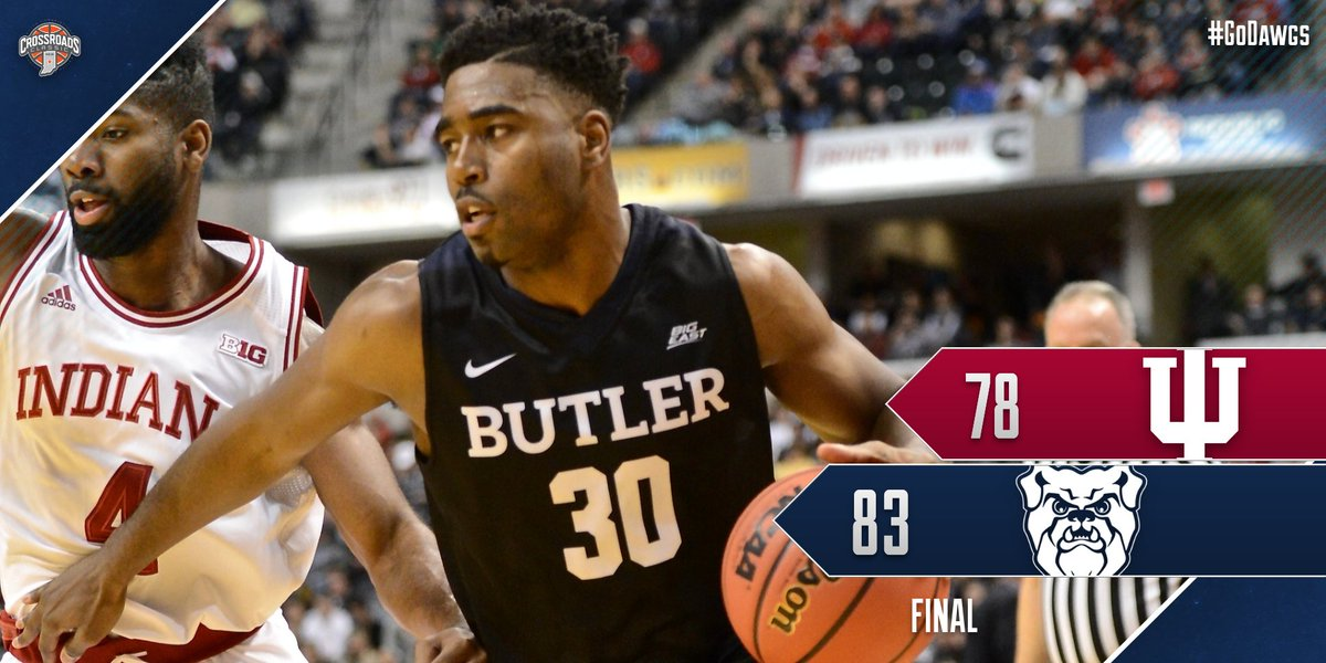 Dawgs win!!   Kelan Martin scores 28, Butler downs No. 9 Indiana in annual #CrossroadsClassic https://t.co/Zq8WI85jSV