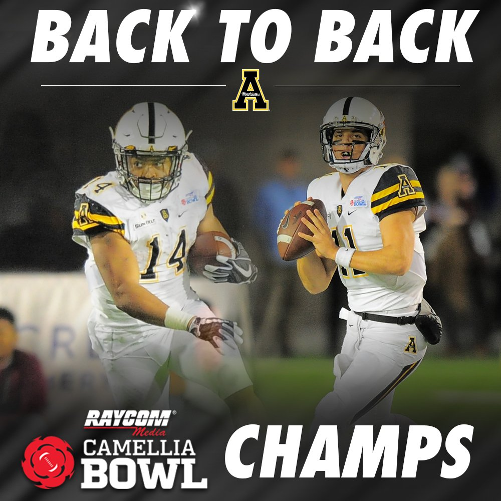 And your Mountaineers have just captured back to back @CamelliaBowl titles! #DefineTheMoment