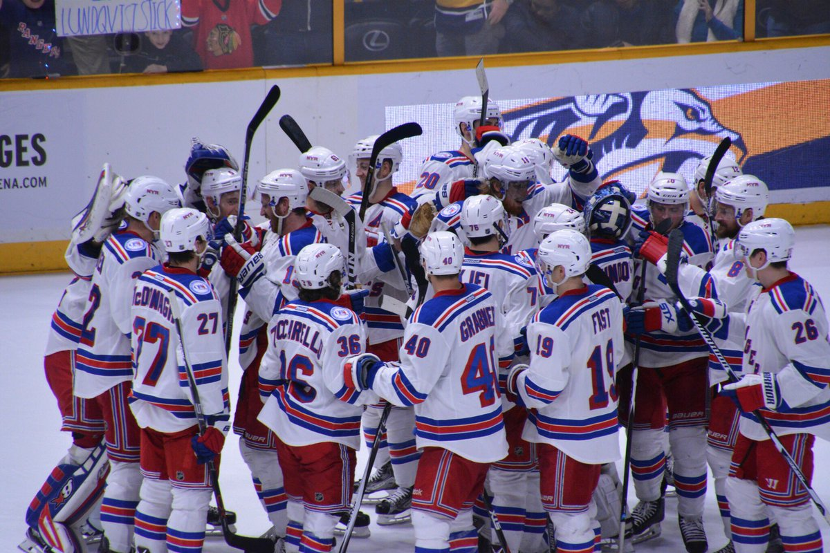 The Rangers celebrate a 2-1 shootout win over the Predators in style. AP Photo via Getty Images courtesy NYRangers.