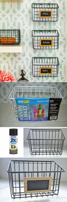 Check out the tutorial: #DIY Wire Mail Baskets #crafts #decor...