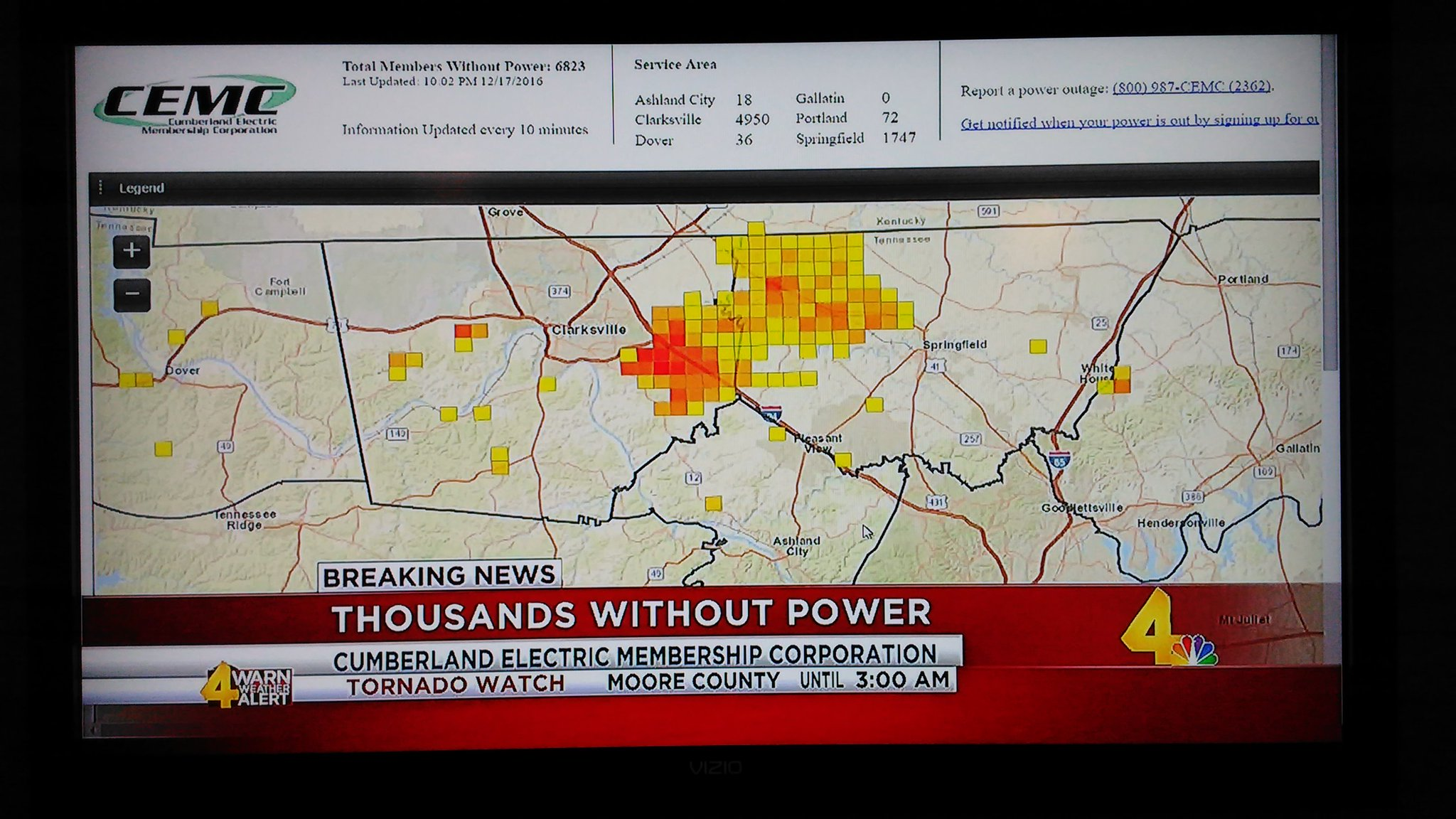 David Speight On Twitter Cemc Outage Map Featured On Wsmv Tonite