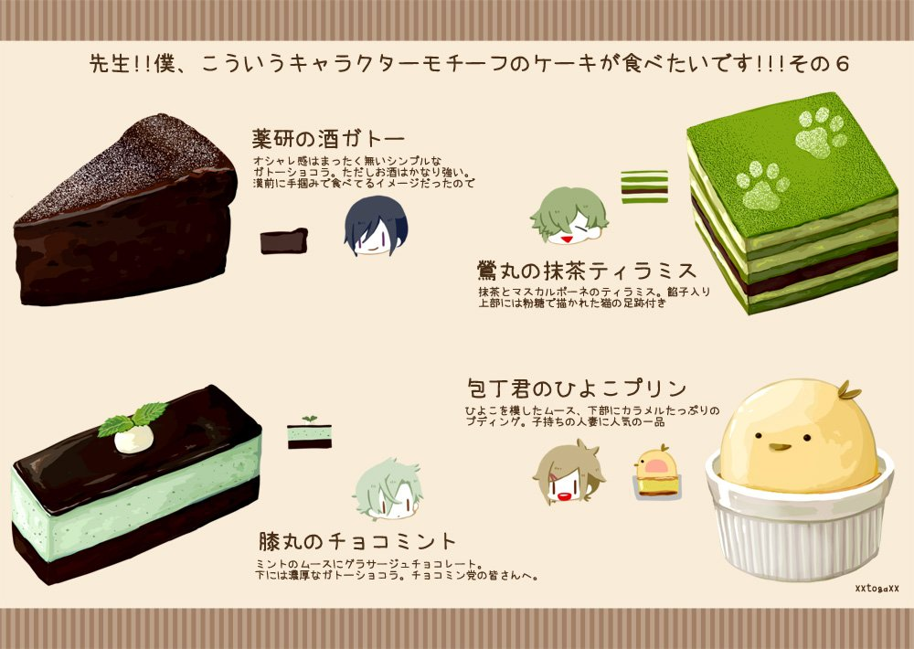 こういう感じのキャラケーキが食べたい。刀剣版6 ケーキじゃないのあるけど洋菓子屋さんで売ってる物という事でご容赦! https://t.co/IJRA9E9mrw
