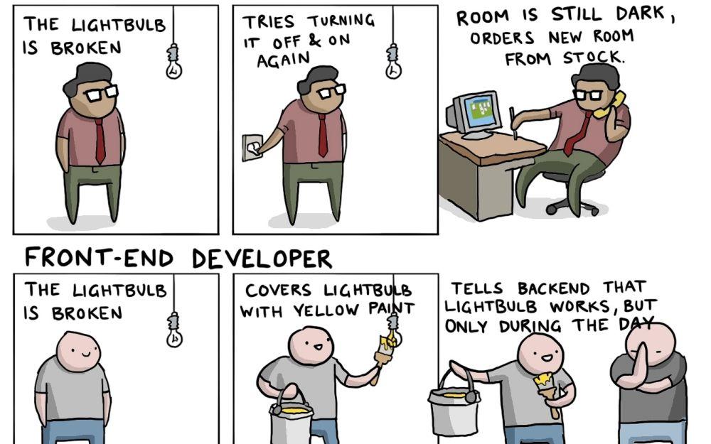 IT Jobs Explained With A Broken Lightbulb [comic] https://t.co/kgJyja3KWq https://t.co/yvUoIi2wnz