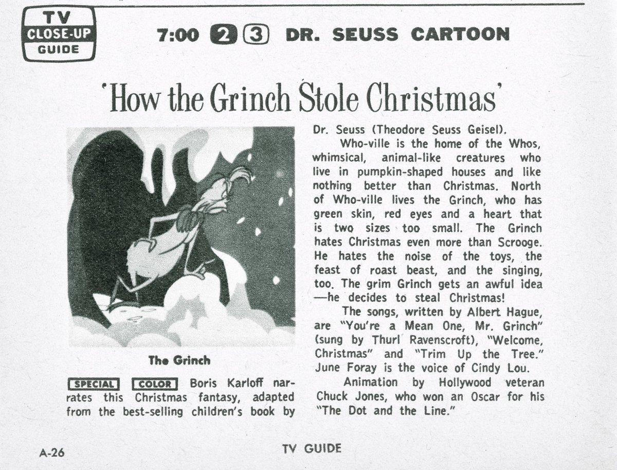 tv insider on twitter dr seuss how the grinch stole christmas debuted 50 years ago today heres our original listing from december 18 - How The Grinch Stole Christmas Tv Schedule