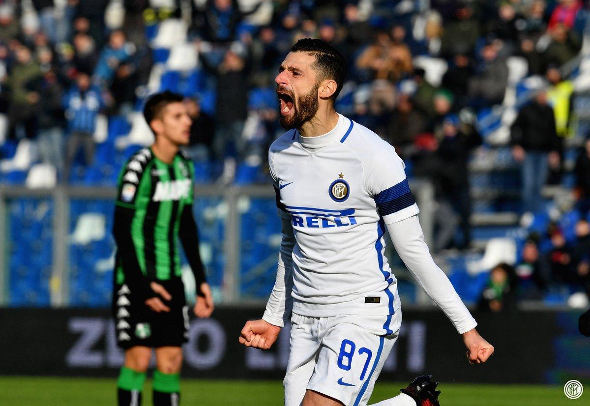 Sassuolo-Inter 0-1 firmato Candreva, espulso Felipe Melo