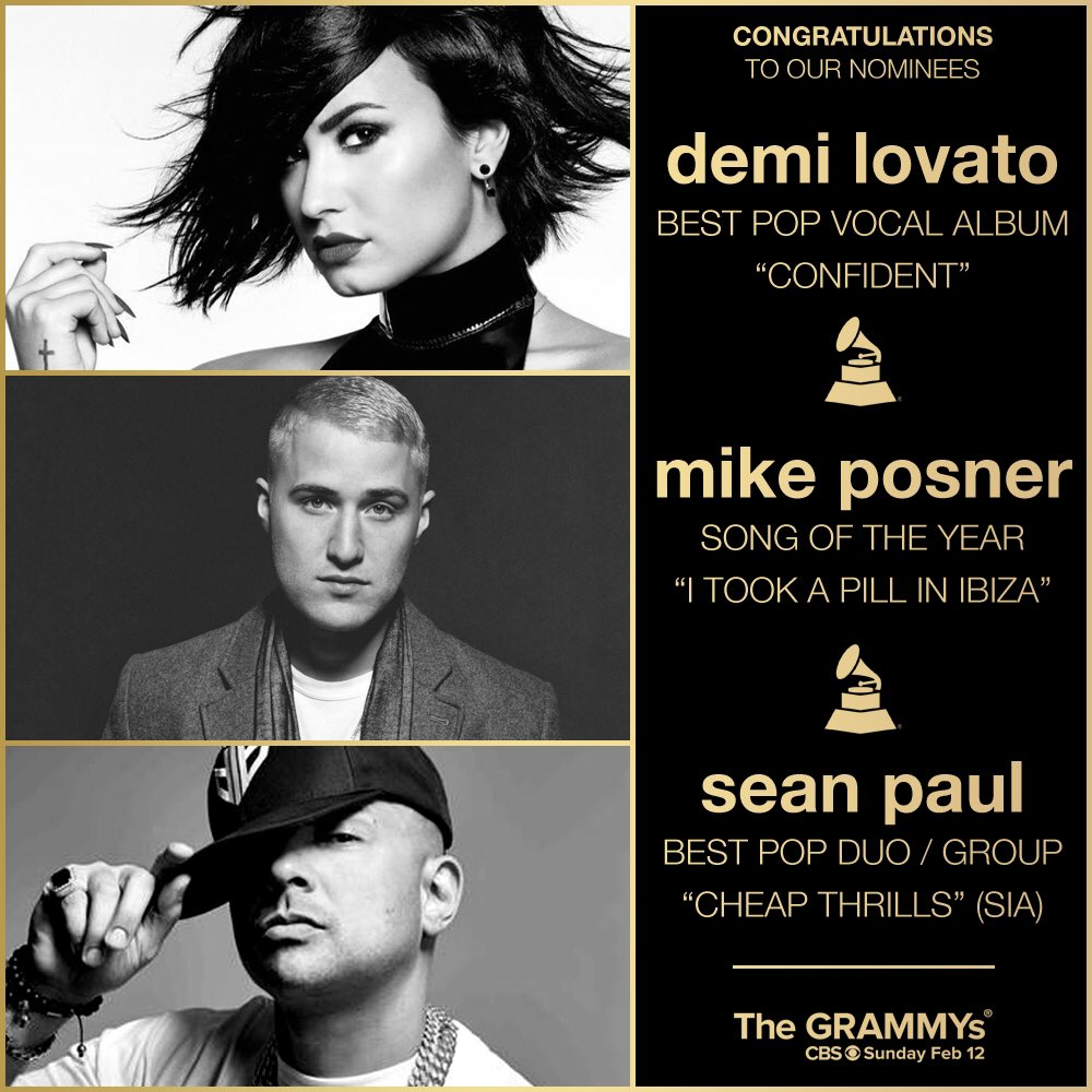 Congratulations to @ddlovato, @mikeposner and @duttypaul for their @RecordingAcad #GRAMMYs nominations! https://t.co/SCPfhNaxD7