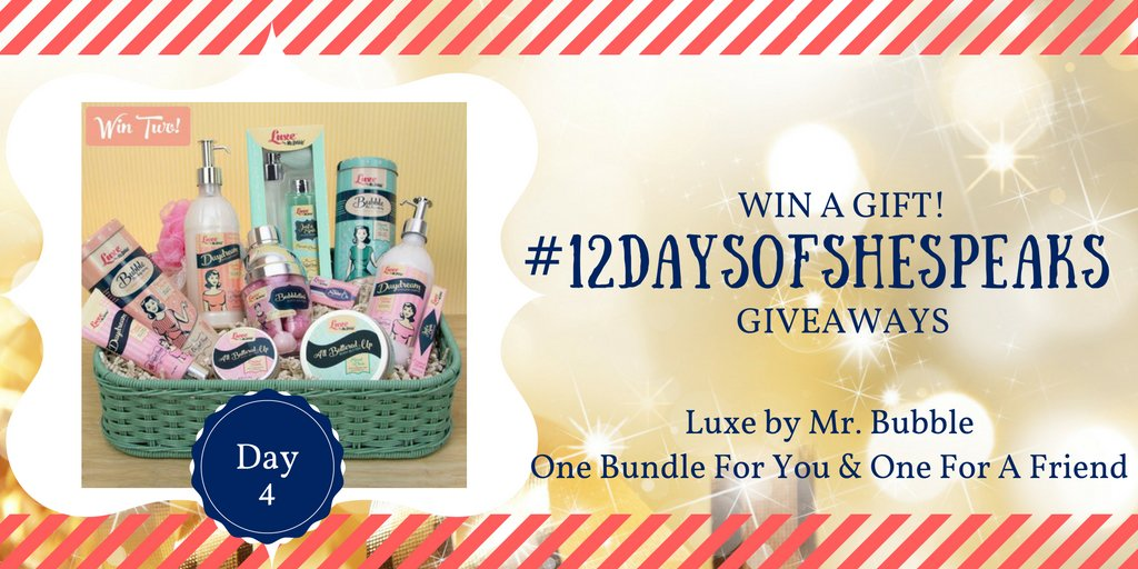 Win Luxe by #MrBubble prizes for you and a friend #12DaysOfSheSpeaks Day 4 giveaway! https://t.co/KopIfgOjqH https://t.co/gAs9XtUWcB