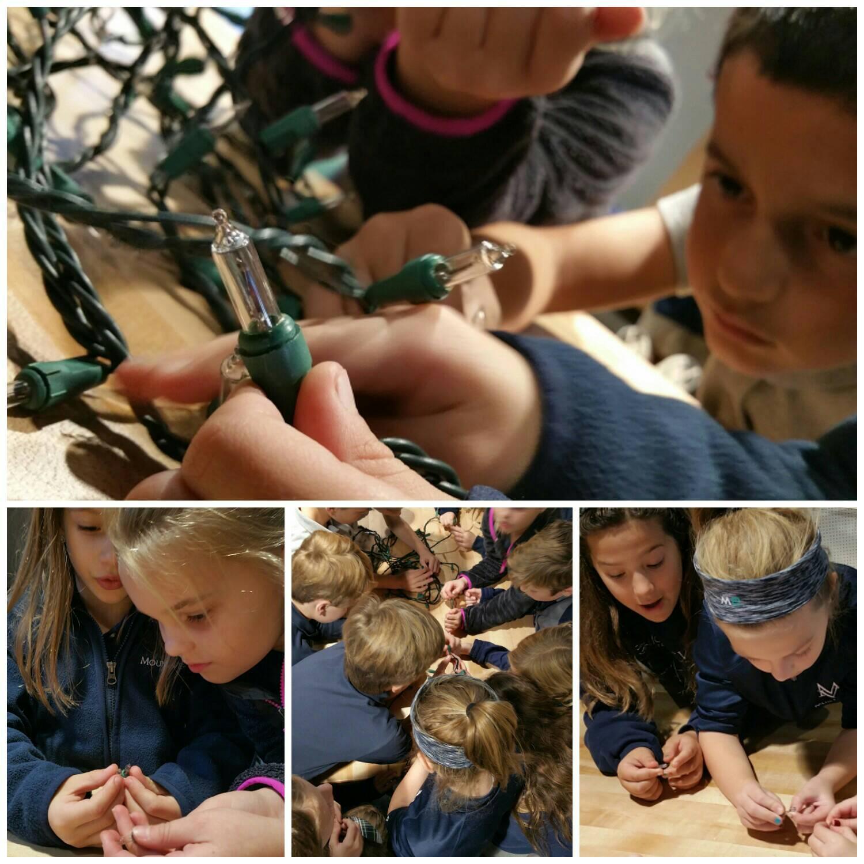"""I wanna broken one!"" #kidquote #Takeapart Christmas lights to learn abt parallel/open circuits, & insulators/conductors #MakerEd #MVPSchool https://t.co/UKxY4KSSR6"