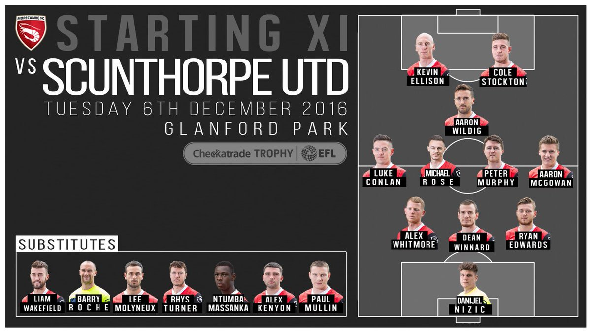 STARTING XI: Here's the side to face @SUFCOfficial in tonight's @CheckatradeTrpy tie https://t.co/TPBiGQnt1v