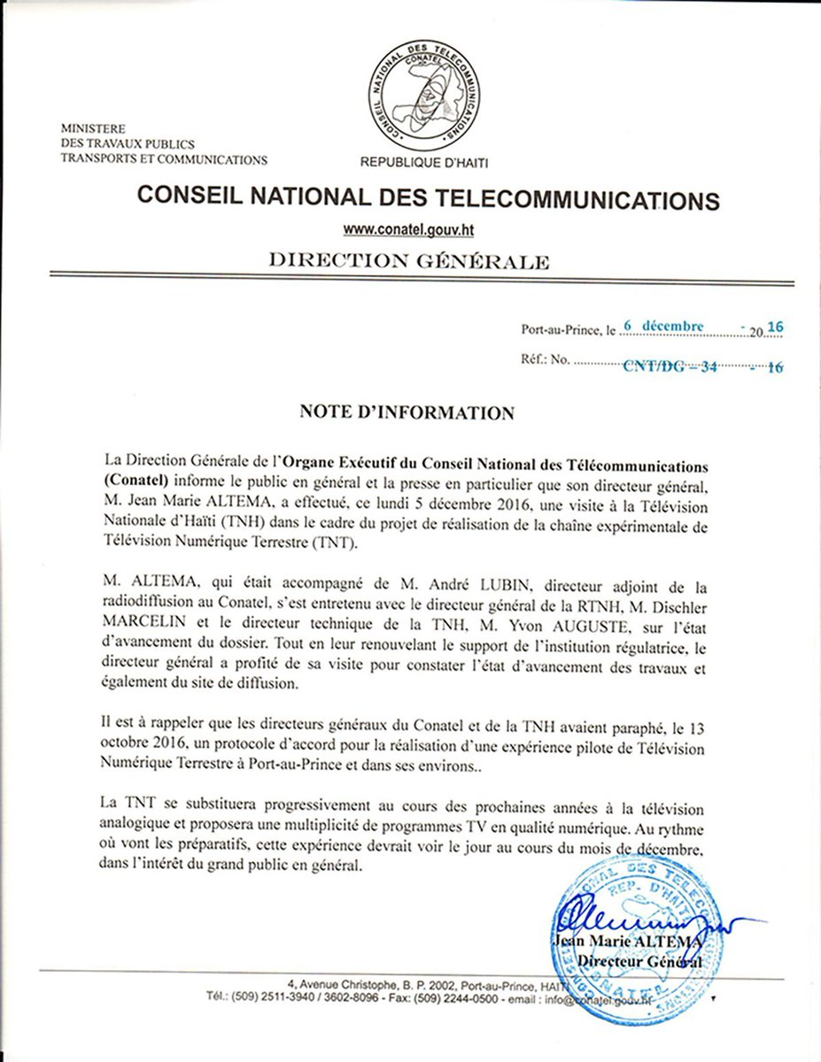 Conatelhaiti On Twitter Note D Information