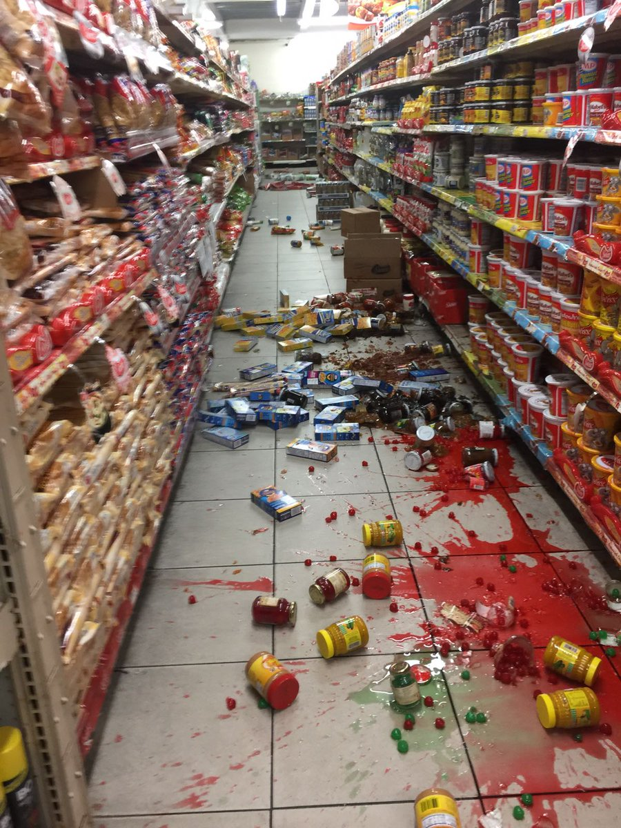 Earthquake damage at Westbees Supermarket in Diego Martin. https://t.co/31FH7doqjy