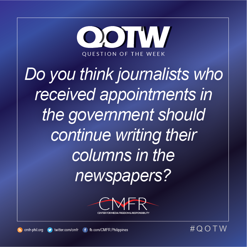Thumbnail for QOTW: Do you think journos who received government appointments should continue writing their columns in newspapers?