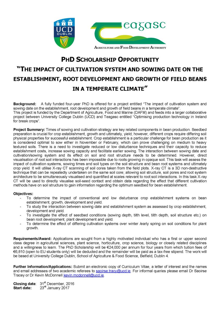 Ucd School Ag Food On Twitter Phd Scholarship Opportunity With