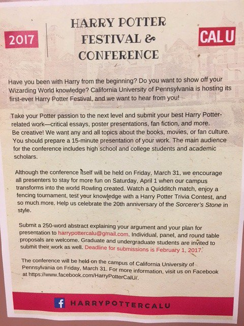 cal u honors program on twitter a harry potter festival and conference is coming to cal u think about submitting a proposal and attending this fun event