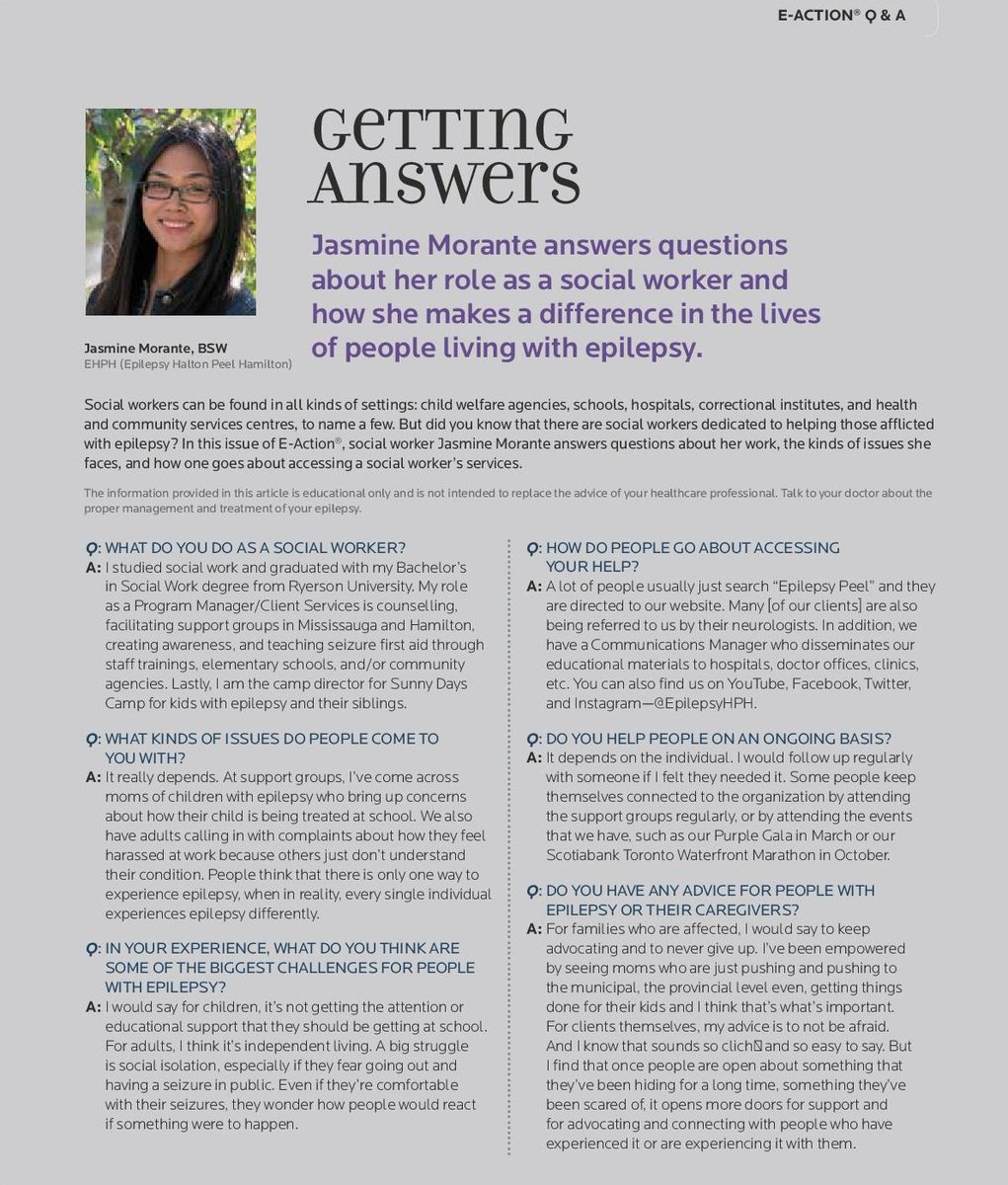"Epilepsy South Central Ontario on Twitter: ""E-Action Magazine Interview  with Jasmine Morante. @jasmorante #EpilepsyAwareness #clientservices  #programs ..."