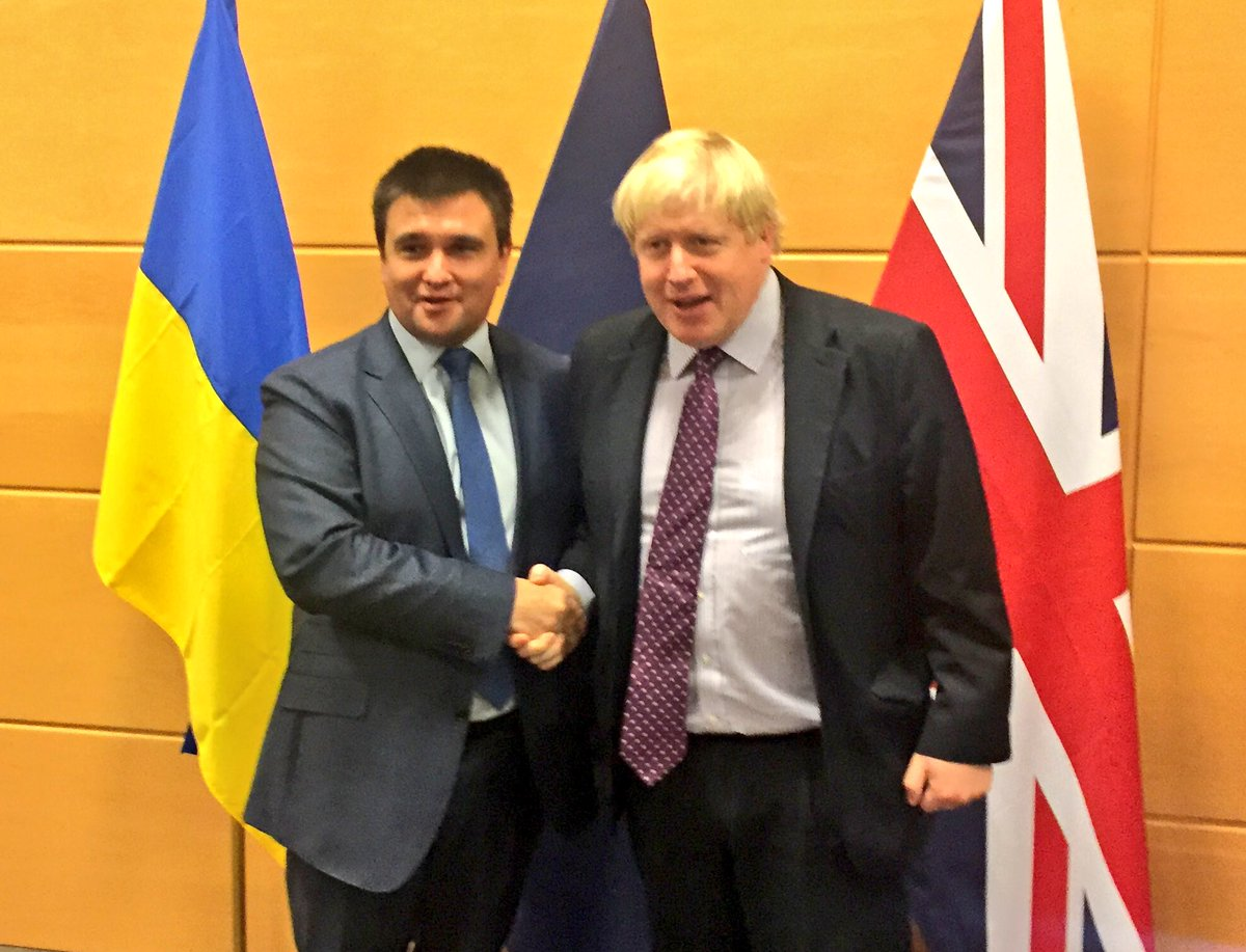 Boris Johnson: Great to see Ukraine foreign minister @PavloKlimkin again. Our support for Ukraine's defence  and  reform efforts is rock solid