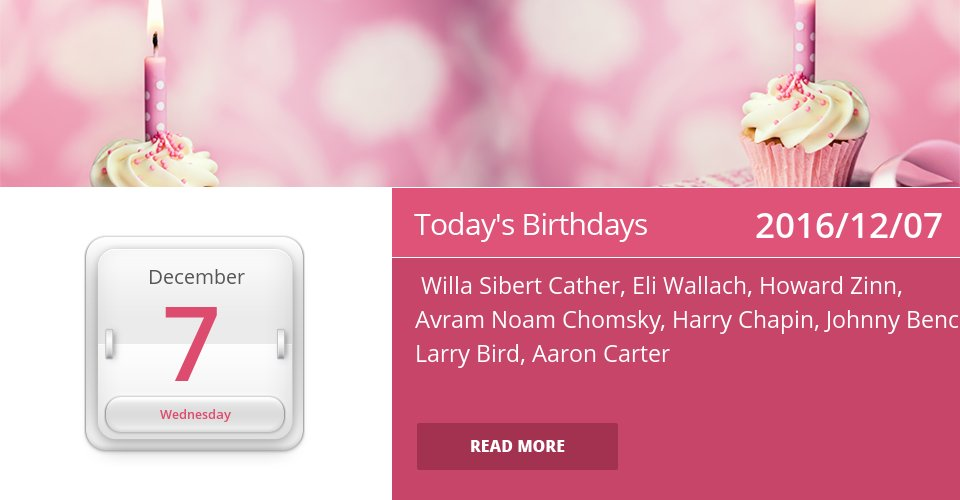 Famous Birthdays for Dec 7, 2016 => See more: https://t.co/mFGmWTNzgG #HappyBirthday https://t.co/c9nckHGRo8