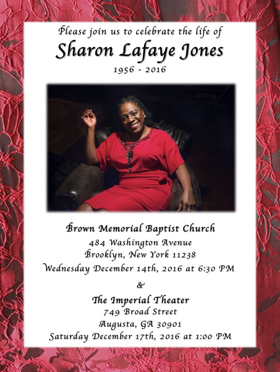 There will be two memorials for Sharon Jones - one in Brooklyn, NY and one in Augusta, GA. https://t.co/lqadB5BBj2