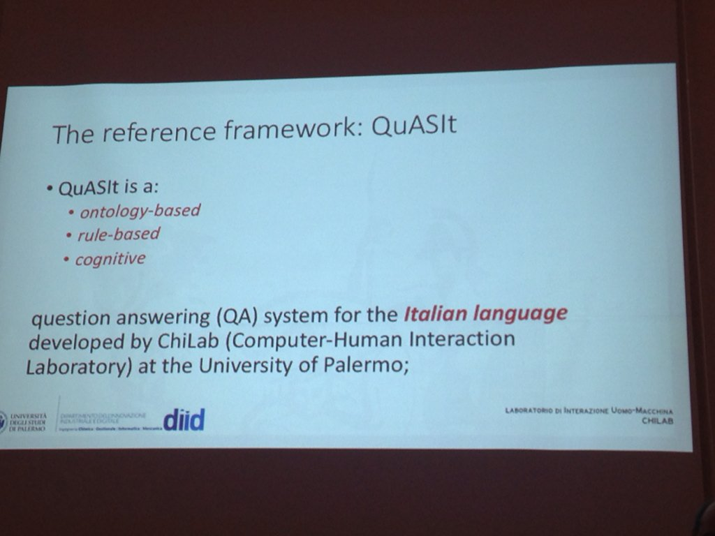 Roberto Pirrone @unipa_it describes the reference framework of his system for QA4FAQ task #EVALITA2016 https://t.co/HkeyzRNyS0