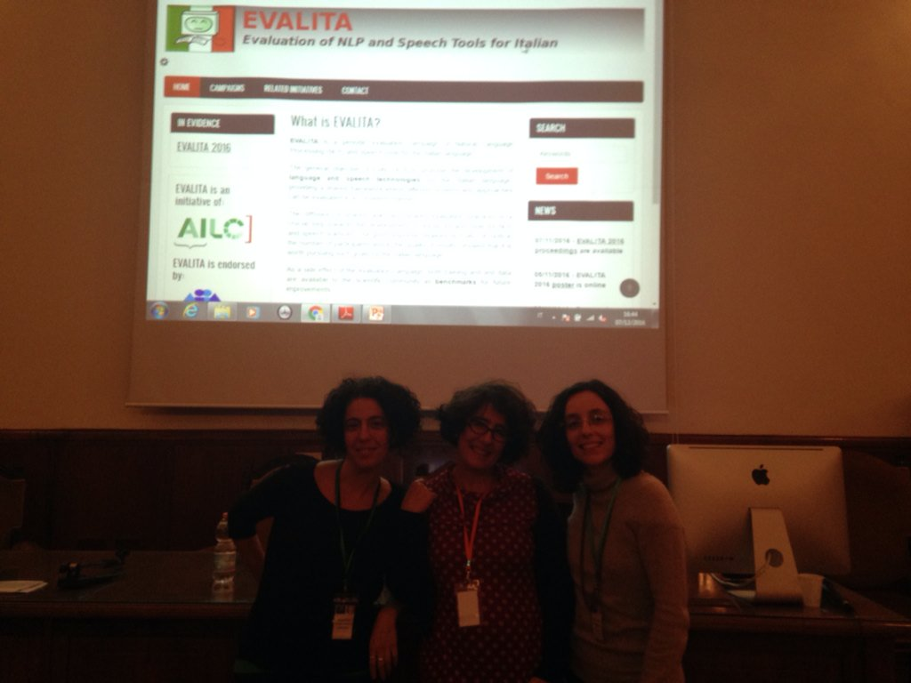 #EVALITA2016 backstage :) Rachele Sprugnoli, Malvina Nissim and @vivi_patti https://t.co/S0VgGHPofh