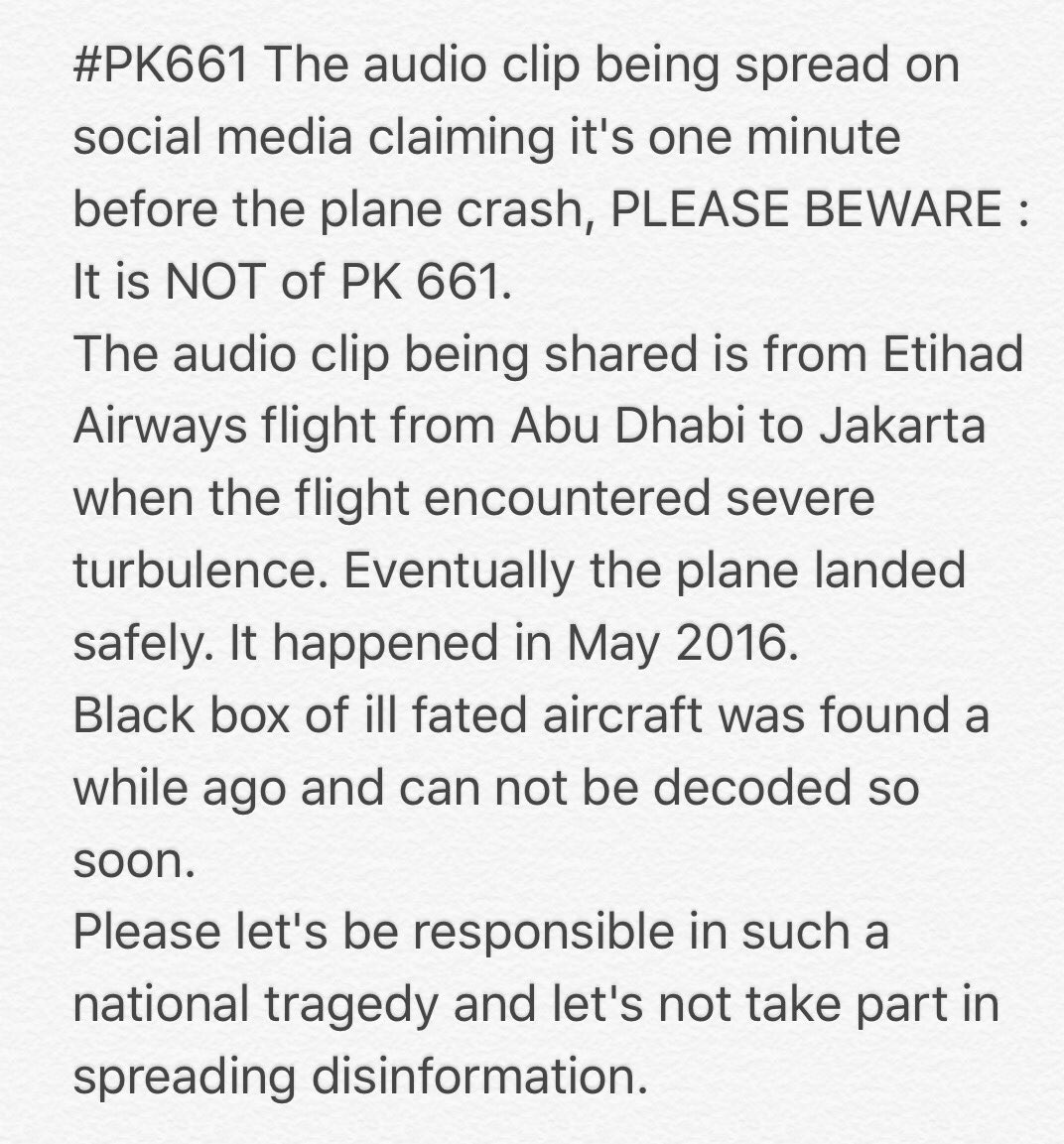 #PK661 Public Service Message : Re the fake audio clip being circulated : https://t.co/RKBDjS66K1