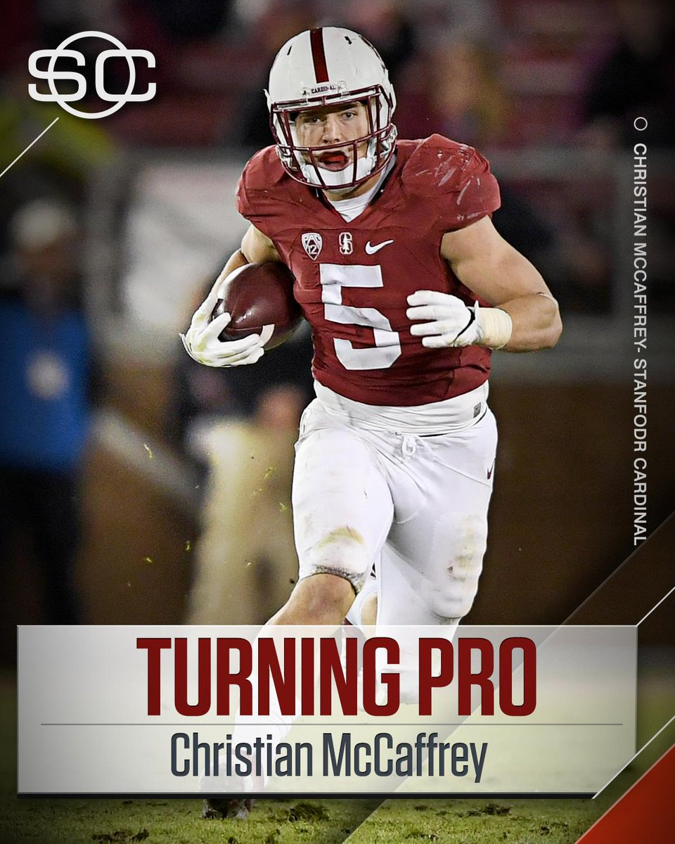 THIS JUST IN: Stanford RB Christian McCaffrey declares for the 2017 NFL Draft.