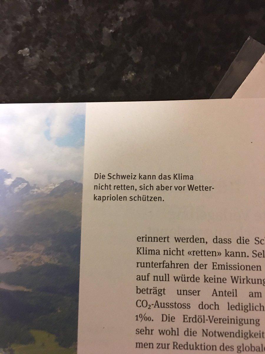 Aus der Imagebroschüre der #Erdölvereinigung: Die Schweiz im #KlimaReduit.