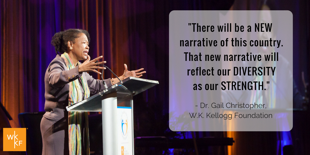 """There will be a new narrative of this country. That new narrative will reflect our diversity as our strength."" - Dr. Gail Christopher #TRHT https://t.co/6jPpBgkgQS"