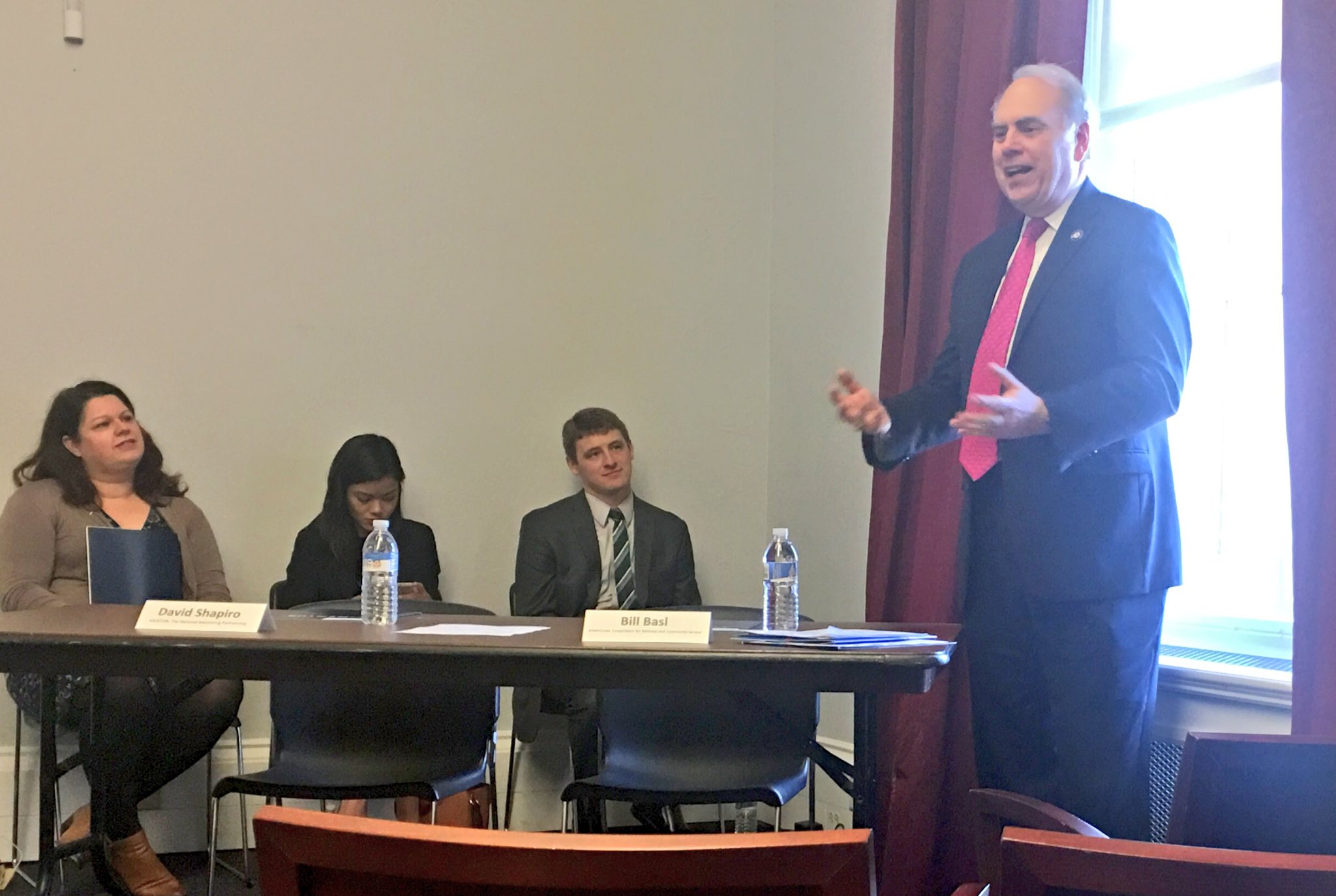 "Bill Basl, @AmeriCorps@Director, speaking at Mentoring Congressional Briefing. ""Volunteering and service can bring us together."" #MentorIRL https://t.co/SUdN7nWTSE"