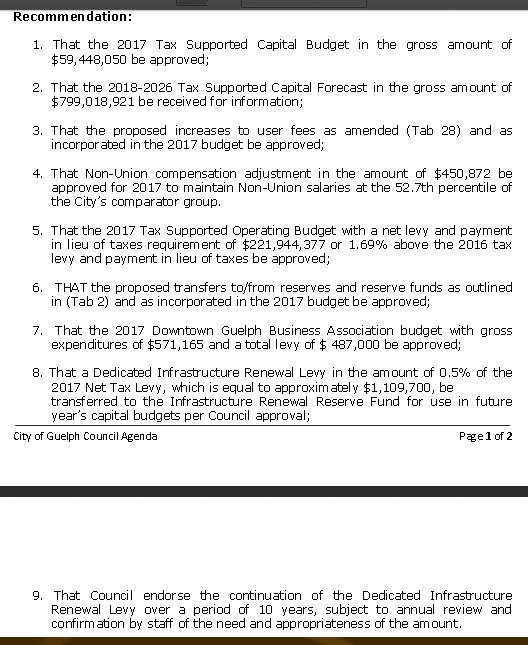 Mr. Krauter is going over the 9 recommendations made to council to approve which can be found below: #GuelphBudget https://t.co/dJgeVQJKsm