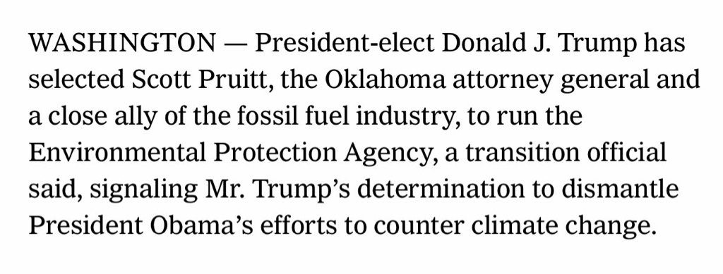 So does anyone know what Environmental Protection Agency nominee Scott Pruitt has done to protect the environment? https://t.co/N4fDM0MDp0