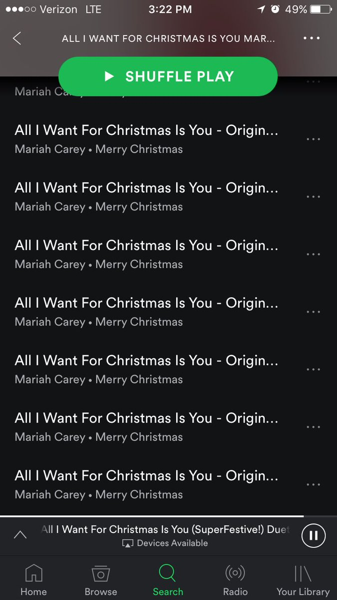dummer on twitter theres a playlist on spotify thats nothing but all i want for christmas is you by mariah carey