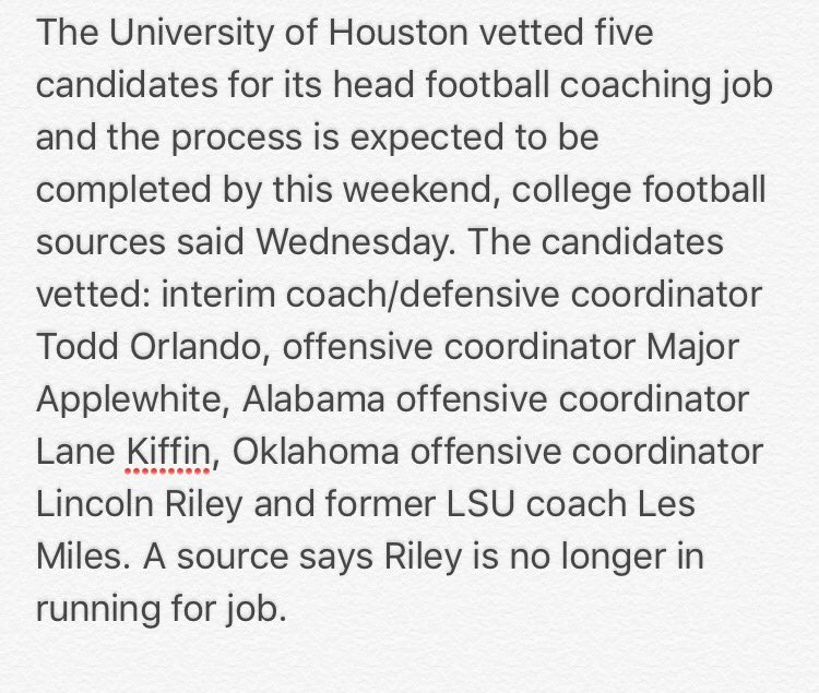 on @UHCougarFB coaching search. One candidate no longer under consideration. Decision could come by weekend