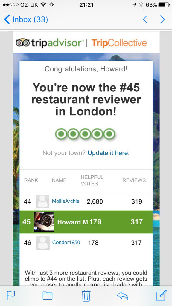 Only 44 people in London have written more TripAdvisor reviews than our founder & MD,  Howard Morgan! #obsessive