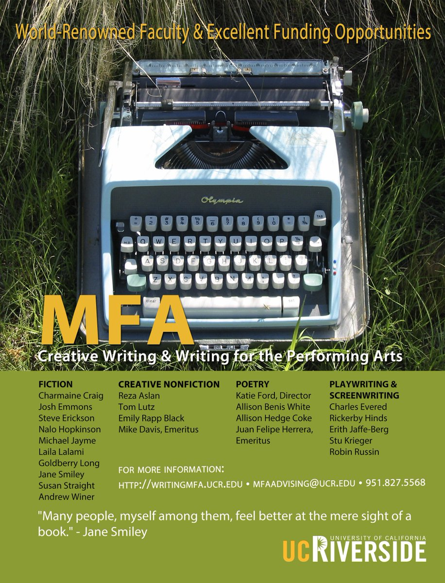 ucr creative writing mfa Online application to the ucr graduate division under program, select creative writing palm desert low residency disclaimer with appropriate fee (by credit card).