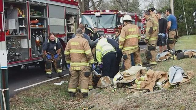 Firefighter saved by fellow rescuers in Bucks County