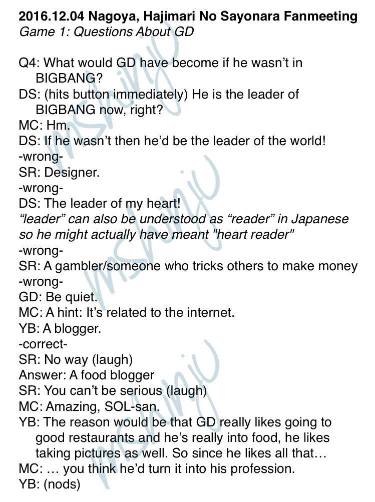 marie on twitter 20161204 nagoya hajimari no sayonara fanmeeting game 1 questions about gd q4 what would gd have become if he wasnt in bigbang