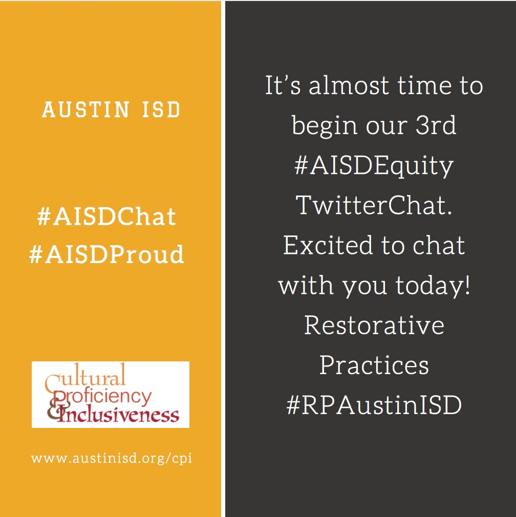 It's almost time to begin our 3rd #AISDEquity TwitterChat. Excited to chat with u! #RPAustinISD #AISDChat #TweetChat @MsHosack @jbontke https://t.co/EtDGJ7vd9w