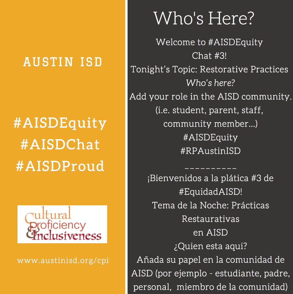 So glad you joined tonight! Who's Here? #AISDEquity #RPAustinISD #AISDChat https://t.co/UGwgw2MB21